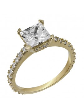Χρυσό μονόπετρο δαχτυλίδι 14Κ με ζιργκόν D032067 D032067
