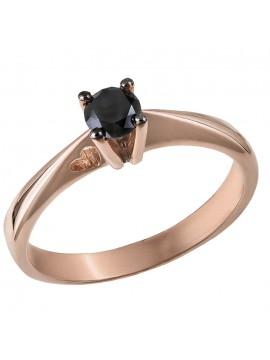 Μονόπετρο ροζ gold με καρδούλα Κ18 και μαύρο διαμάντι D032083 D032083