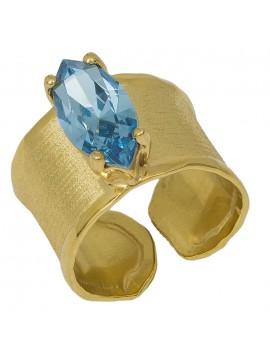 Δαχτυλίδι γυναικείο επίχρυσο 925 με μπλε ζιργκόν ναβέτα D032358 D032358