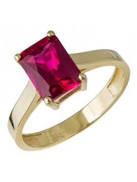 Δαχτυλίδι χρυσό 14Κ με κόκκινη πέτρα D032513 D032513