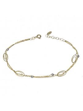 Γυναικείο βραχιόλι χρυσό 14Κ με λευκόχρυσες μπίλιες D032518 D032518