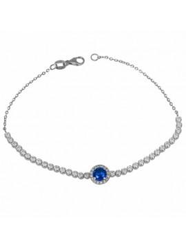 Βραχιόλι Ριβιέρα με μπλε πέτρα λευκόχρυσο Κ14 D032670 D032670