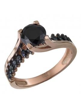 Μονόπετρο Ροζ Gold 14Κ με μαύρη πέτρα D032675 D032675