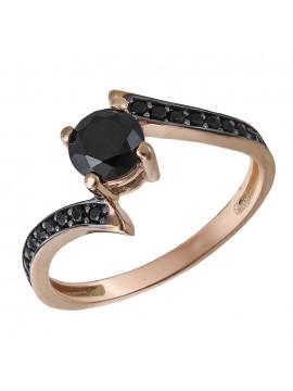 Μονόπετρο δαχτυλίδι ροζ χρυσό 14Κ με ζιργκόν D032676 D032676