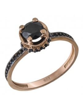 Δαχτυλίδι μονόπετρο ροζ gold Κ14 με μαύρες πέτρες D032678 D032678