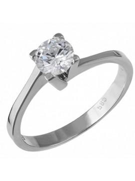 Λευκόχρυσο μονόπετρο δαχτυλίδι 14Κ με ζιργκόν D032682 D032682