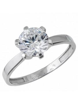 Λευκόχρυσο Δαχτυλίδι Μονόπετρο 14Κ D032684 D032684