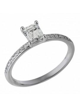 Μονόπετρο Λευκόχρυσο Δαχτυλίδι 18 Κ με Διαμάντι Emerald D032881 D032881