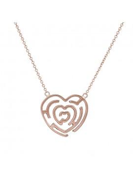 Κολιέ Ροζ Gold Κ14 Καρδιά Λαβύρινθος D032900 D032900