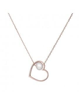 Κολιέ καρδιά από ροζ χρυσό 14Κ με Μαργαριτάρι D032901 D032901
