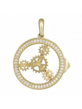 Κρεμαστό Χρυσό 14Κ με Ροδέλα Κίνησης και Ζιργκόν D033003 D033003