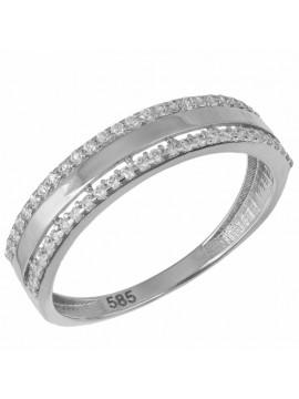 Λευκόχρυσο σειρέ δαχτυλίδι 14Κ με ζιργκόν D033028 D033028