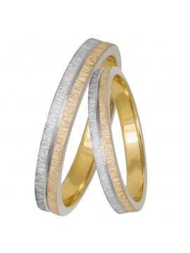 Βέρες γάμου δίχρωμες 14Κ ζαγρέ D033056 D033056