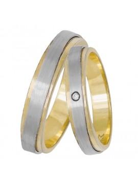 Χειροποίητες βέρες γάμου 14Κ δίχρωμες με ζιργκόν D033058 D033058