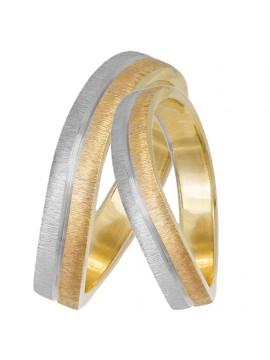 Βέρες γάμου κυματιστές δίχρωμες Κ14 D033065 D033065