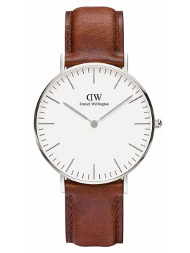 Daniel Wellington Classic St Mawes Silver Brown Leather Strap 0607DW 0607DW