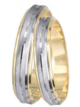 Δίχρωμες βέρες γάμου ματ ζαγρέ λουστρέ Κ9 D011414 D011414
