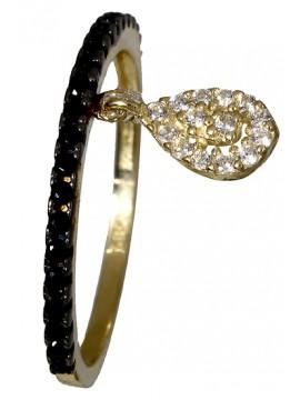 Δαχτυλίδι σειρε με κρεμαστό δάκρυ 14K D018116