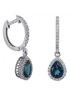 Λευκόχρυσα σκουλαρίκια Κ18 ροζέτες με διαμάντια D026374 D026374
