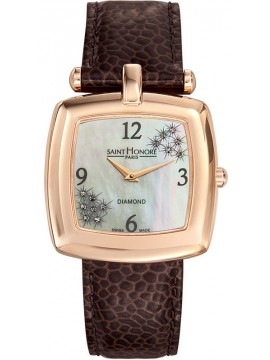 Saint Honore Audacy Diamonds Brown Leather Strap 7210608YBD