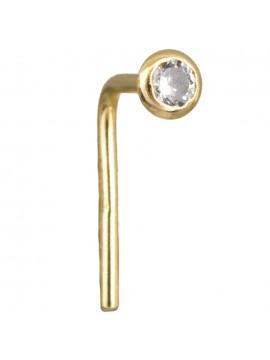 Χρυσό σκουλαρίκι μύτης Κ14 με λευκή ζιργκόν D022459 D022459