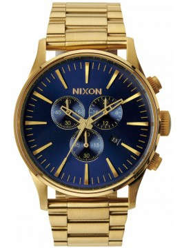 Nixon Sentry Chrono Blue Gold Stainless Steel Bracelet A386-1922-00 A386-1922-00