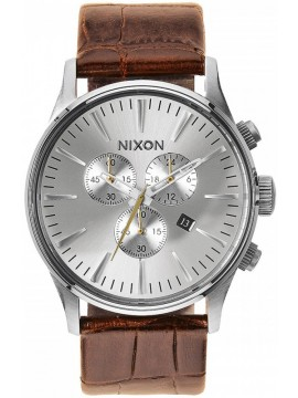 Nixon Sentry Chrono Brown Leather Strap A405-1888-00 A405-1888-00
