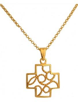Επίχρυσος σταυρός από ασήμι 925 με αλυσίδα DASC496 DASC496