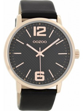 Γυναικείο ρολόι OOZOO Timepieces Rose Gold Black Leather Strap C8509 C8509