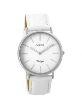 OOZOO ρολόι Vintage Timepieces White Leather Strap C9312