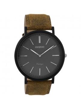 Αντρικό ρολόι OOZOO με καφέ δερμάτινο λουράκι C9352 C9352