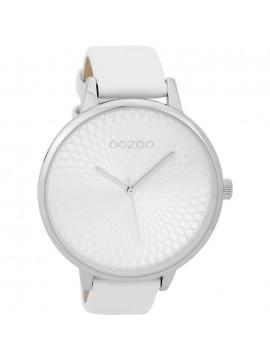 Ρολόι OOZOO Timepieces με λευκό δερμάτινο λουράκι C9560 C9560