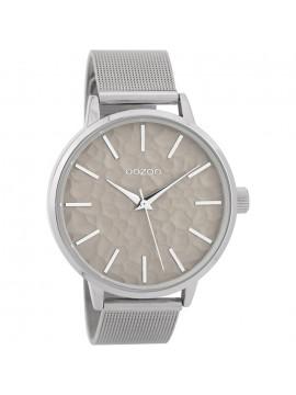 Ρολόι OOZOO με ασημί μπρασελέ και γκρι καντράν C9571 C9571