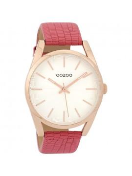 Ρολόι OOZOO Timepieces με κοραλλί δερμάτινο λουράκι C9584 C9584