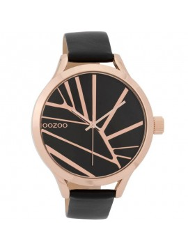 Γυναικείο OOZOO ρολόι Rose Gold Black Leather Strap C9684 C9684