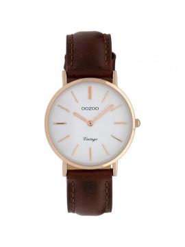 Ρολόι χειρός OOZOO Vintage με καφέ δερμάτινο λουράκι C9837 C9837