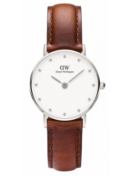 Daniel Wellington Classy St Mawes Crystals Brown Leather Strap 0920DW 0920DW