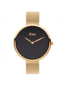 Ρολόι JCOU Luna με επίχρυσο μπρασελέ και μαύρο καντράν ju17115-6 ju17115-6