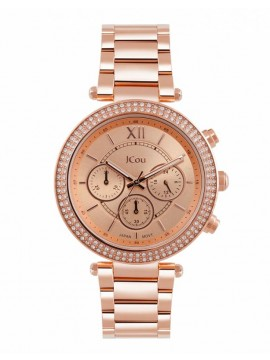 Ρολόι JCou Lady D Chronograph Rose gold Bracelet JU16017-2