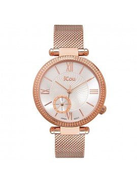 JCou γυναικείο ρολόι Eclipse Rose gold Mesh Bracelet JU17021-2 JU17021-2