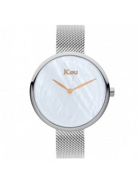 Ρολόι JCOU LUNA με ασημί μπρασελέ και φίλντισι καντράν JU17115-1 JU17115-1
