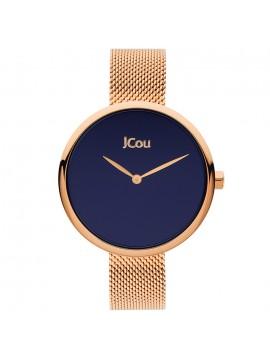 Ρολόι JCOU Luna με ροζ επίχρυσο μπρασελέ και μπλε καντράν ju17115-3 ju17115-3