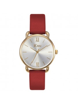 Γυναικείο ρολόι JCou Charm red leather strap JU18087-5 JU18087-5