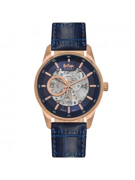 Lee cooper Automatic Skeleton Blue Leather strap LC06423.499 LC06423.499