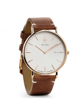 Ρολόι Nick Cabana Boheme Rose Gold Brown Leather Strap NC002 NC002