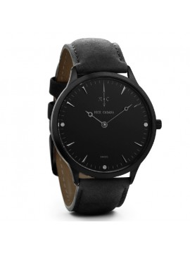 Αντρικό ρολόι Nick Cabana Nilaya Gun black leather strap NC207 NC207