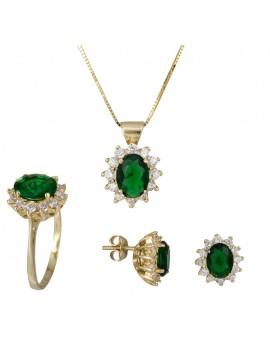 Χρυσό γυναικείο σετ ροζέτα με πράσινη πέτρα 14Κ DSET021623 DSET021623