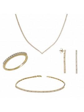 Σετ Γάμου Χρυσό 14Κ Ριβιέρα με Ζιργκόν DSET032427 DSET032427