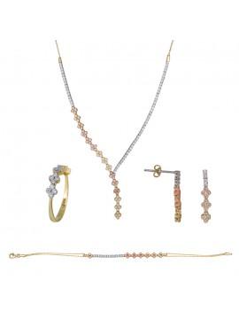 Τρίχρωμο σετ γάμου σειρέ με σταυρό 14Κ DSET023796 DSET023796
