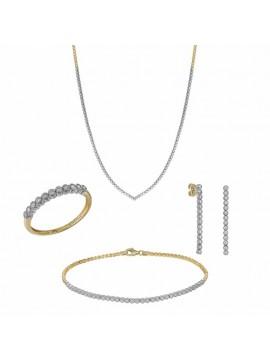 Σετ Γάμου Δίχρωμο από λευκόχρυσο και χρυσό Κ14 με ζιργκόν SETD031540 SET031540